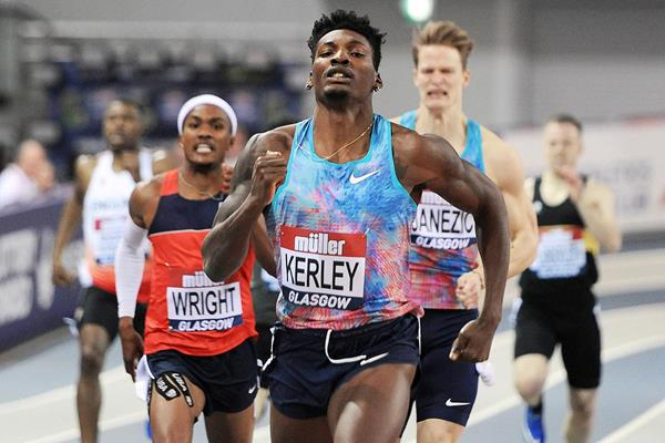 Fred Kerley in the 400m at the IAAF World Indoor Tour meeting in Glasgow (Mark Shearman)