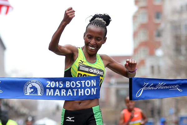 Caroline Rotich wins the 2015 Boston Marathon (Getty Images)