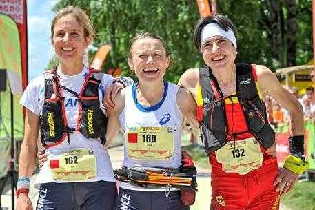 The three women's medallists at the 2015 IAU Trail World Championships, Nathalie Mauclair centre (FFA / organisers)