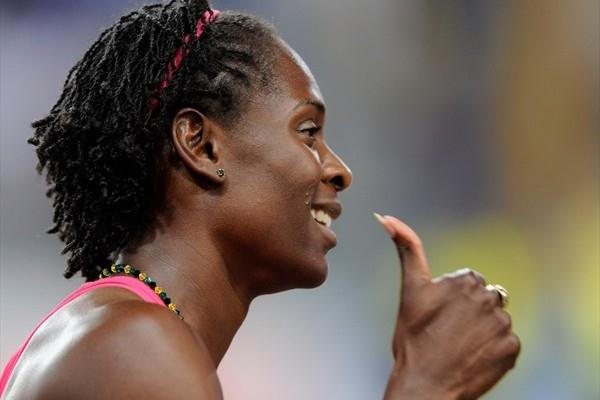 Kerron Stewart celebrates her 100m victory (Getty Images)