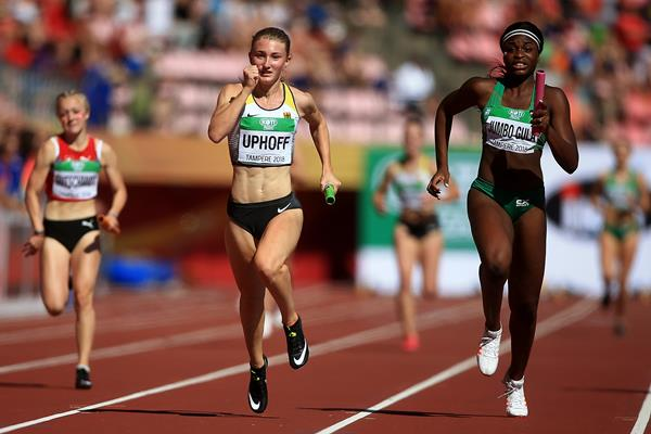 Denise Uphoff anchors the German 4x100m relay team to gold at the IAAF World U20 Championships Tampere 2018 (Getty Images)