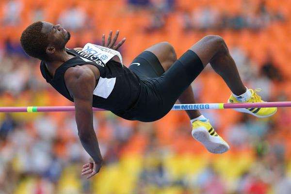 Kabelo Kgosiemang of Botswana in the high jump (Getty Images)
