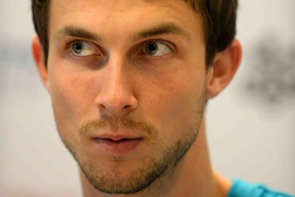 Bogdan Bondarenko at the pre-event press conference for the 2013 IAAF Diamond League meeting in Zurich  (Jiro Mochizuki)