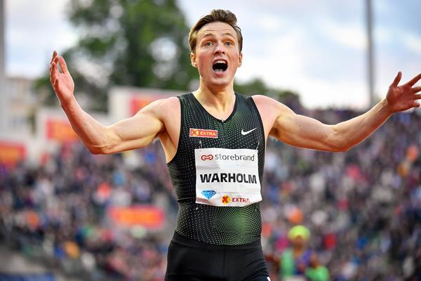 Karsten Warholm after setting a European 400m hurdles record at the IAAF Diamond League meeting in Oslo (Deca Text & Bild)