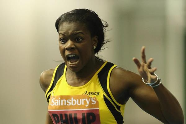 Asha Philip winning the 60m at the 2014 British Indoor Championships in Sheffield (Getty Images)