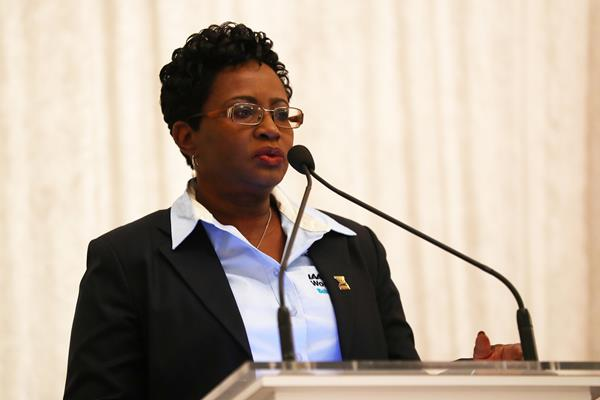 BAAA President and LOC CEO Rosamunde Carey at the press conference ahead of the IAAF/BTC World Relays Bahamas 2017 (Getty Images)