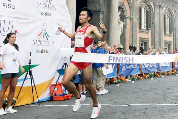 Japan's Akira Aizawa wins the half marathon at the World University Games in Naples (FISU)