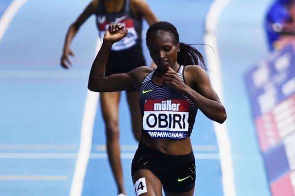 Hellen Obiri winning the 3000m at the Muller Indoor Grand Prix in Birmingham (Getty Images)