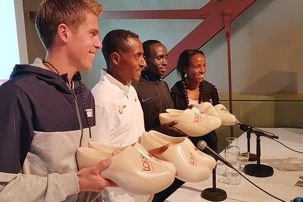 Michel Butter, Kenenisa Bekele, Lawrence Cherono and Meseret Defar at the press conference for the Amsterdam Marathon (Eric Roeske)