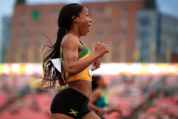 Briana Williams of Jamaica wins the 100m (Getty Images)