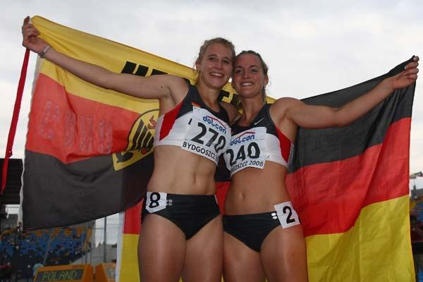 Carolin Schafer of Germany celebrates winning the Heptathlon with team mate Elisa-Sophie Dobel (Getty Images)