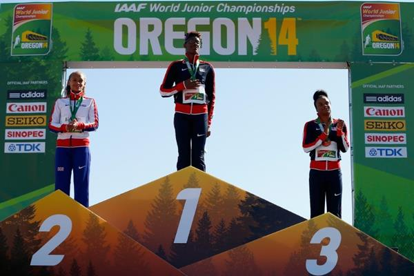 The 400m hurdles medallists at the IAAF World Junior Championships, Oregon 2014 (Getty Images)