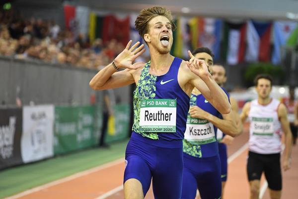 Marc Reuther wins the 800m at the World Athletics Indoor Tour meeting in Dusseldorf (Gladys Chai von der Laage)