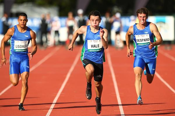 Jack Hale wins the 100m in Hobart (Getty Images)
