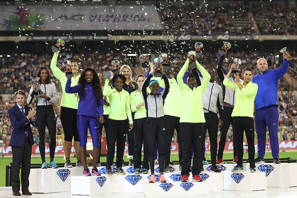 All 16 Diamond Race winners from the IAAF Diamond League final in Brussels with IAAF President Sebastian Coe (Giancarlo Colombo)