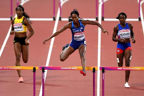 Dalilah Muhammad in the 400m hurdles heats at the IAAF World Championships London 2017 (Getty Images)