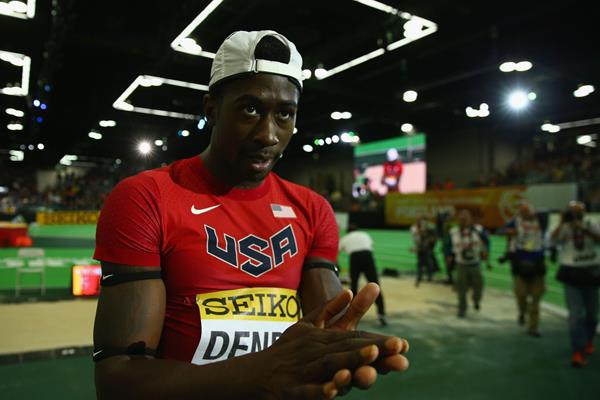 Marquis Dendy after winning the long jump at the IAAF World Indoor Championships Portland 2016 (Getty Images)
