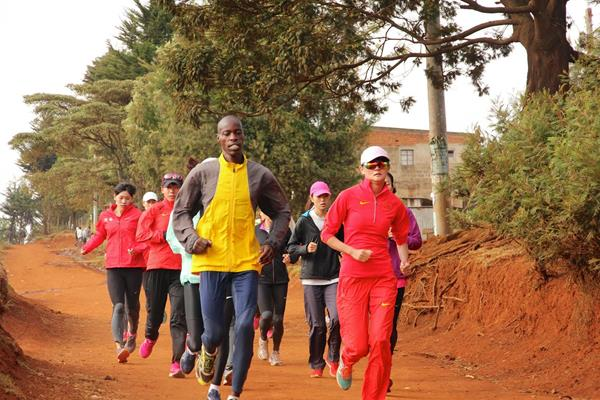 Renato Canova's group of Chinese athletes training in Kenya (Jon Rosen)