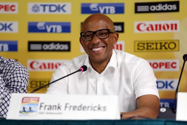 Frankie Fredericks at the IAAF/BTC World Relays, Bahamas 2015 press conference (Getty Images)