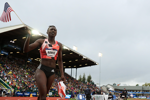 Tori Bowie after winning the 200m at the US Olympic Trials (Getty Images)