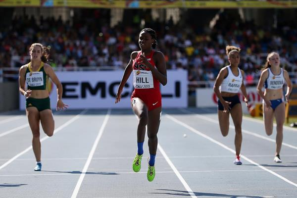 Candace Hill wins the girls' 200m in Cali in a world youth best of 22.43 (Getty Images)