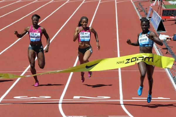 Tori Bowie wins the 200m at the IAAF Diamond League meeting in Eugene (Kirby Lee)