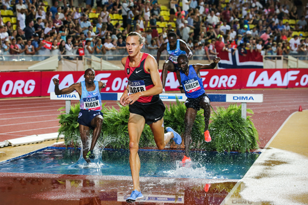 Evan Jager on his way to winning the steeplechase at the IAAF Diamond League meeting in Monaco (Philippe Fitte)