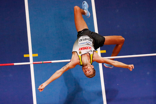 Mateusz Przybylko in the high jump at the IAAF World Indoor Championships Birmingham 2018 (AFP / Getty Images)