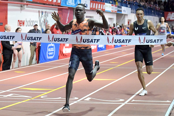 Michael Saruni wins the 800m at the Millrose Games (Kirby Lee)