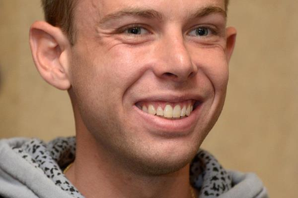 Galen Rupp at the press conference ahead of the 2013 IAAF Diamond League meeting in Eugene (Kirby Lee)