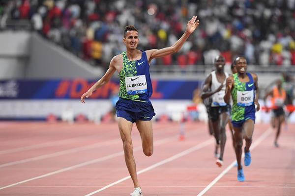 Soufiane El Bakkali wins the 3000m steeplechase at the IAAF Diamond League meeting in Doha (Jiro Mochizuki)