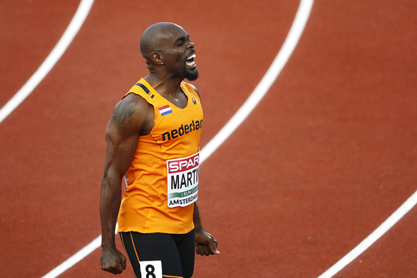 Churandy Martina after winning the 100m at the European Championships (AFP / Getty Images)