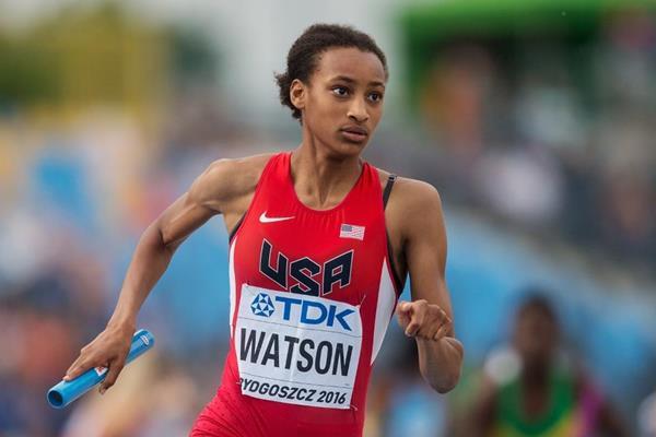 USA's Sammy Watson in the 4x400m at the IAAF World U20 Championships Bydgoszcz 2016 (Getty Images)