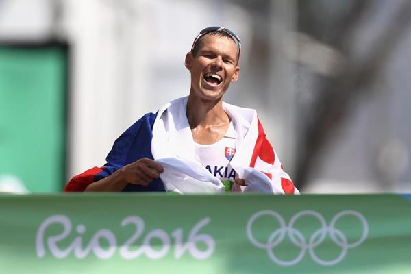 Matej Toth wins the 50km race walk at the Rio 2016 Olympic Games (Getty Images)