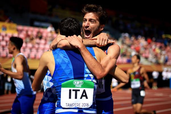 Italy celebrates their 4x400m victory at the IAAF World U20 Championships Tampere 2018 (Getty Images)