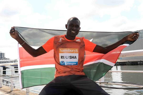 David Rudisha ahead of the 2014 Diamond League meeting in Glasgow (Jiro Mochizuki)
