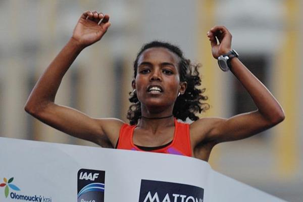 Betelhem Moges winning the 2013 Olomouc Half Marathon (organisers)