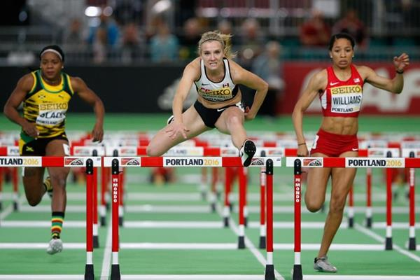 Brianne Theisen-Eaton wins the pentathlon 60m hurdles at the IAAF World Indoor Championships Portland 2016 (Getty Images)