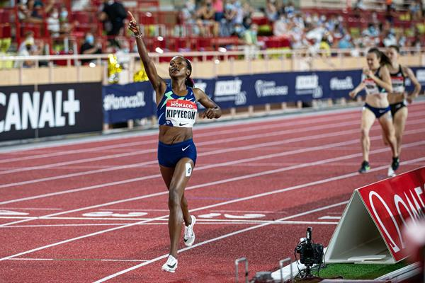 Faith Kipyegon wins the 1000m at the Diamond League meeting in Monaco (Philippe Fitte)