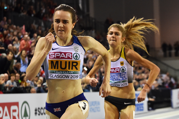 Laura Muir on her way to winning the 3000m at the European Indoor Championships in Glasgow (AFP / Getty Images)