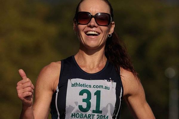 Kelly Ruddick winning at the 2014 IAAF Race Walking Challenge meeting in Hobart (Getty Images)