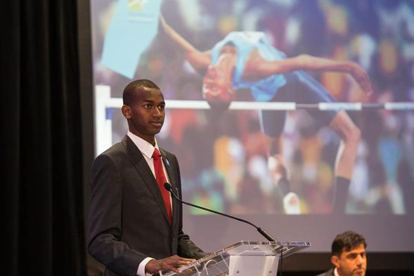Mutaz Essa Barshim speaking on behalf of the Doha 2019 delegation (Philippe Fitte / IAAF)