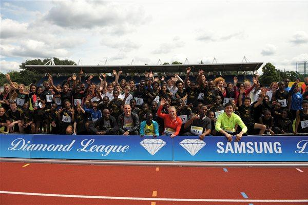 Stars gather with kids in Crystal Palace at the IAAF Centenary relay event in London (Mark Shearman)
