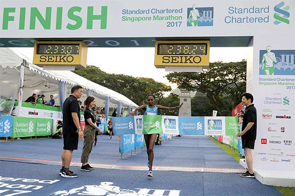 Pamela Rotich wins the Singapore Marathon (Organisers)