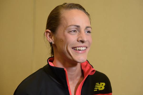 Jenny Simpson at the press conference ahead of the 2015 IAAF Diamond League meeting in Eugene (Kirby Lee)