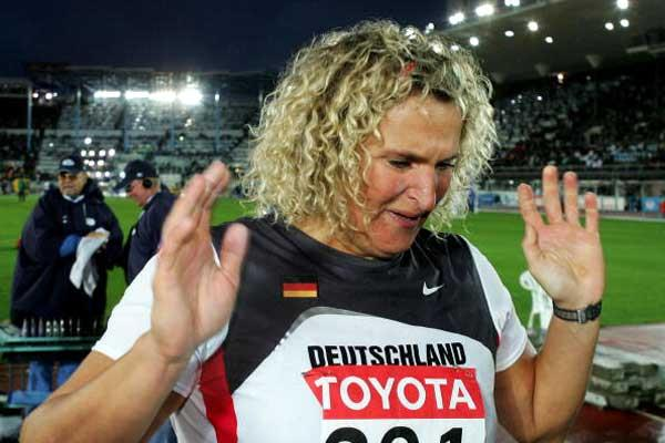 An emotional Dietzsch after her victory in Helsinki (Getty Images)