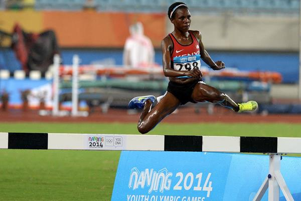 Rosefline Chepngetich in the 2000m steeplechase at the Youth Olympic Games in Nanjing (YOG LOC)