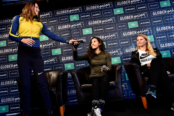 Fabiana Murer, Angelica Bengtsson and Michaela Meijer at the press conference ahead of the Globen Galan in Stockholm (Hasse Sjogren)