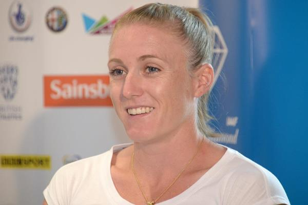 Sally Pearson at the pre-event press conference for the 2013 IAAF Diamond League in London (Kirby Lee)