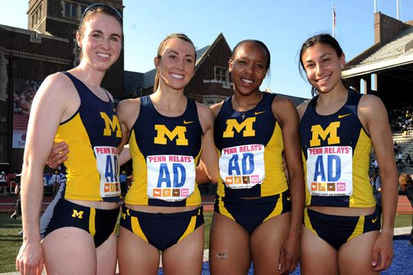 Michigan women's Distance Medley Relay squad - Nicole Edwards, Geena Gall, Serita Williams and Danielle Tauro (Kirby Lee)